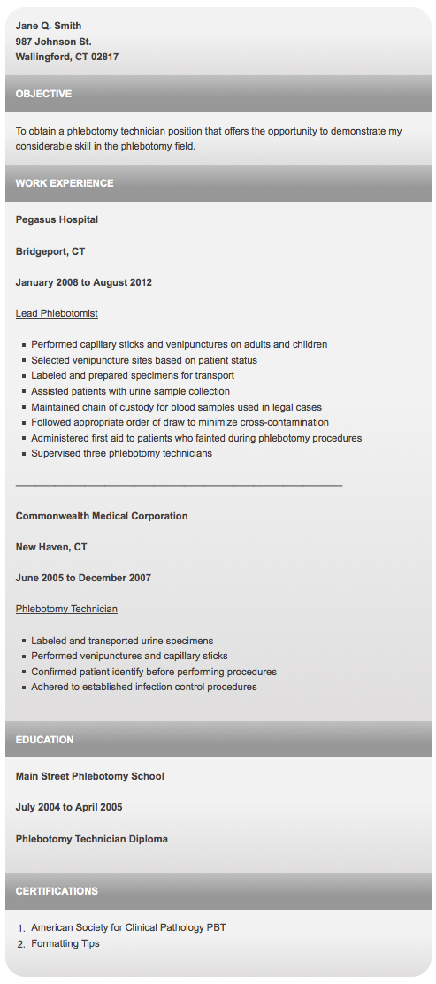 writing a stunning phlebotomist resume  sample inside